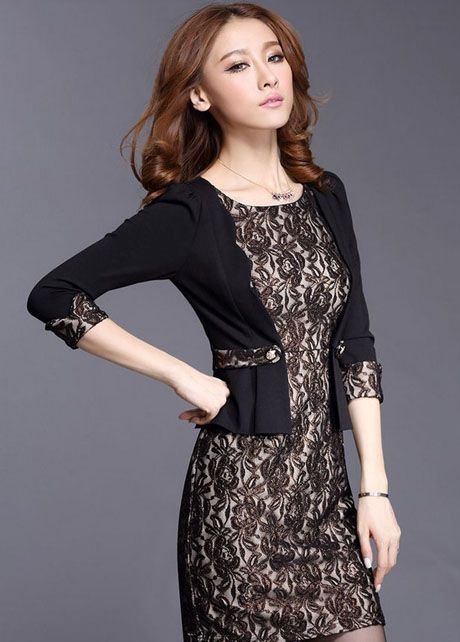 Two Pieces Design Woman Black Sheath Dress
