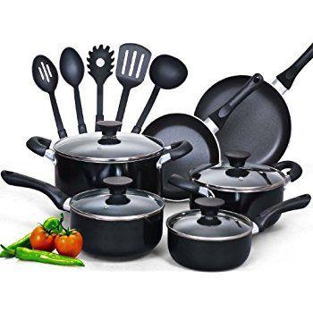 Vremi 15 Piece Nonstick Cookware Set Kitchen Pots And Pans Set