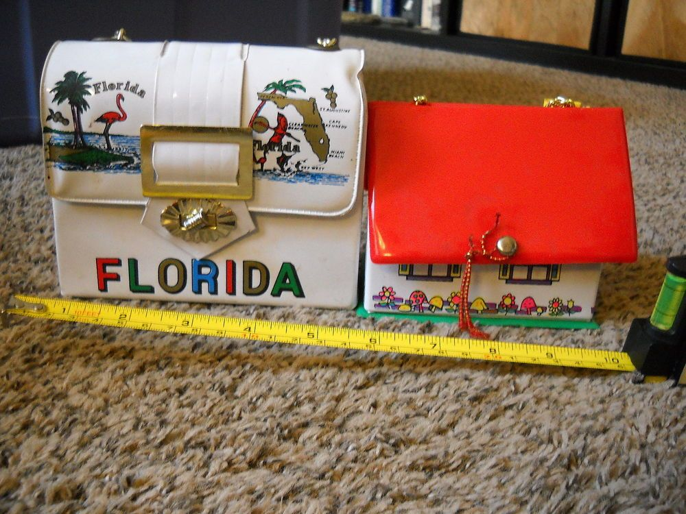 2 vintage childrens plastic vinyl purses made in hong