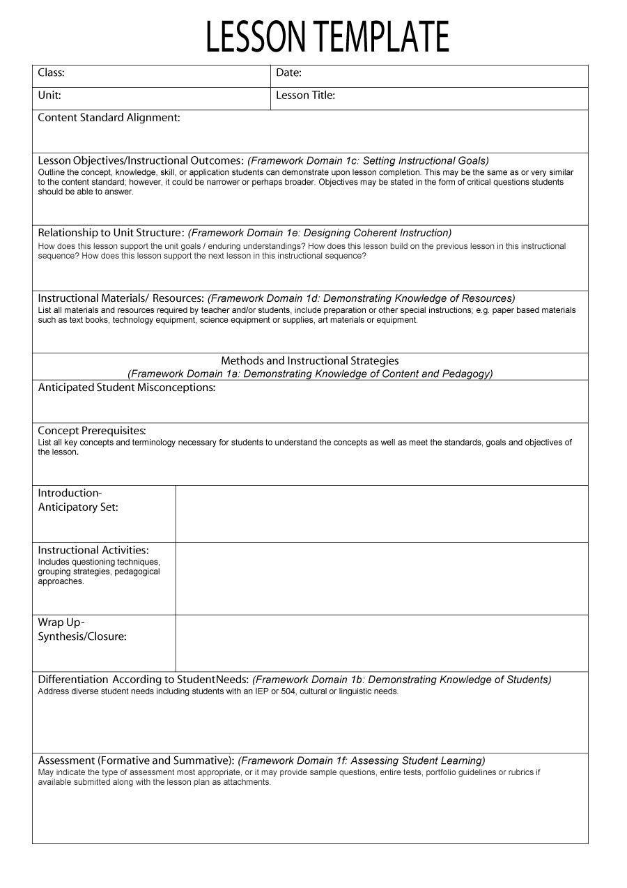 20 Instructional Framework Lesson Plan Template In 2020 Lesson