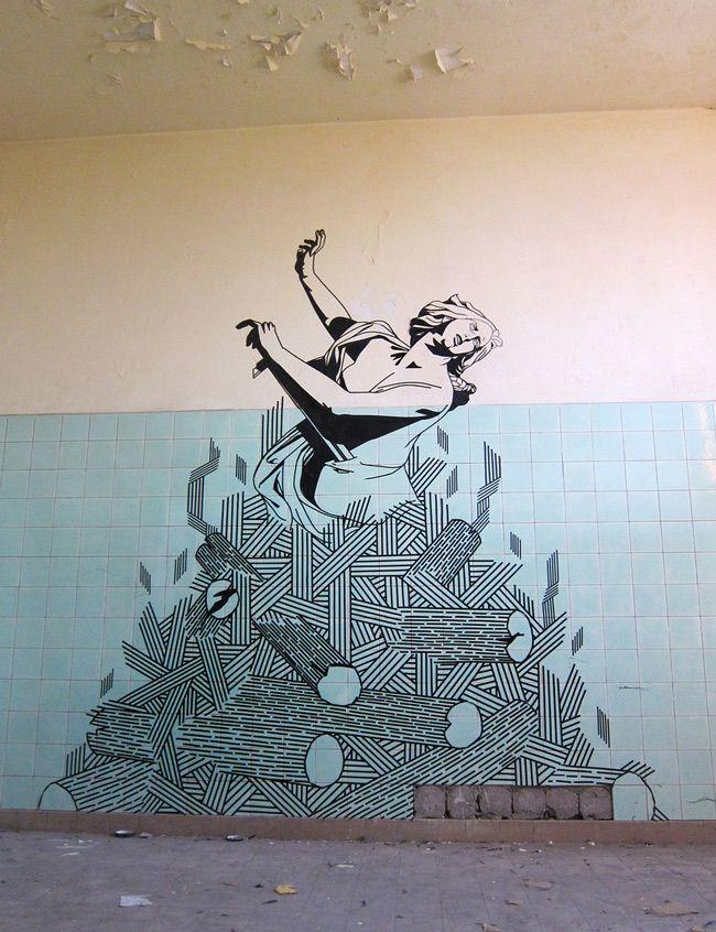 Tape Art Buffdiss Dido Aeneas Series Berlin Tape Art Tape Wall Art Street Art