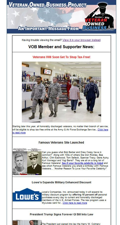 Summer 2017 Veteran Owned Business Newsletter Military Discounts Branch Of Service Business