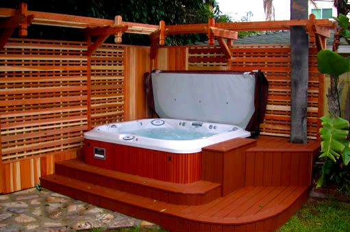 spa patio designs patio designs patio avec spa ralis par patio design inc deck privacy spa - Spa Patio Ideas
