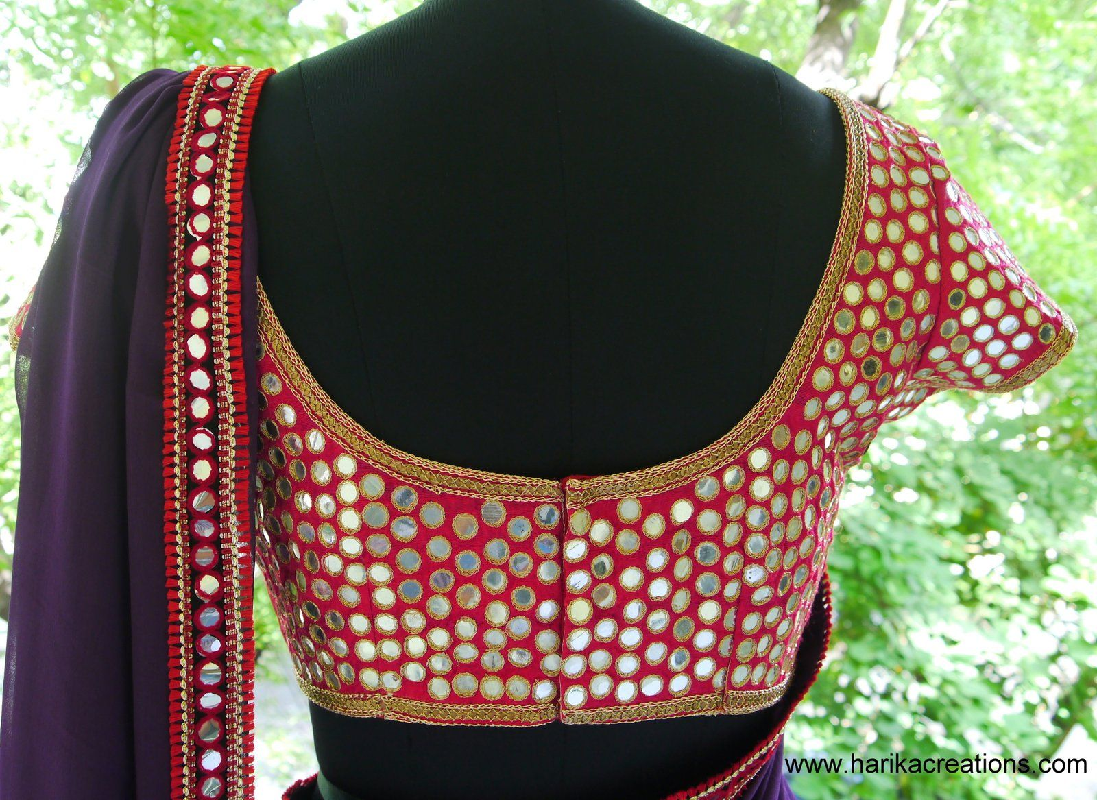 Lehenga blouse design in golden color and mirror work - Mirror Work On A Saree Blouse Indian Fashion