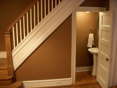 Bathroom under staircase staircases pinterest for Bathroom designs under stairs