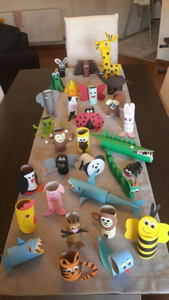 Animals made of toilet paper rolls tinker with children. Different ideas for crafting …