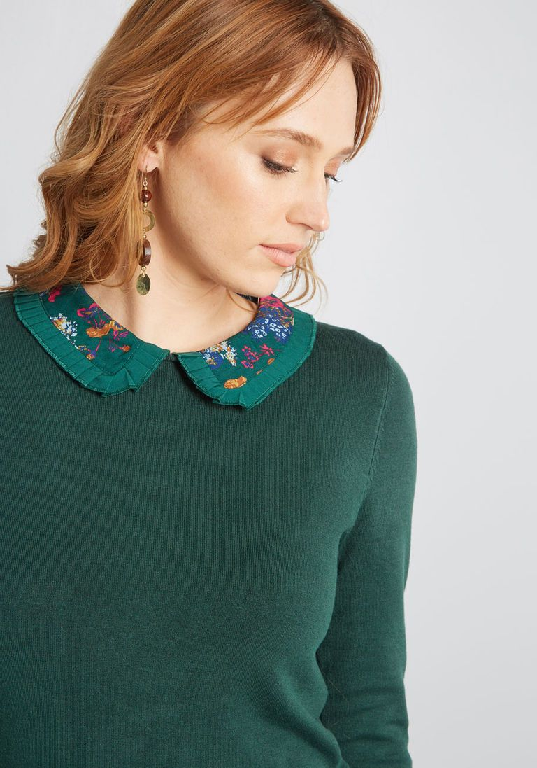 Made Meaningful Collared Sweater in 4X by ModCloth Green Sweater 18cdd550d