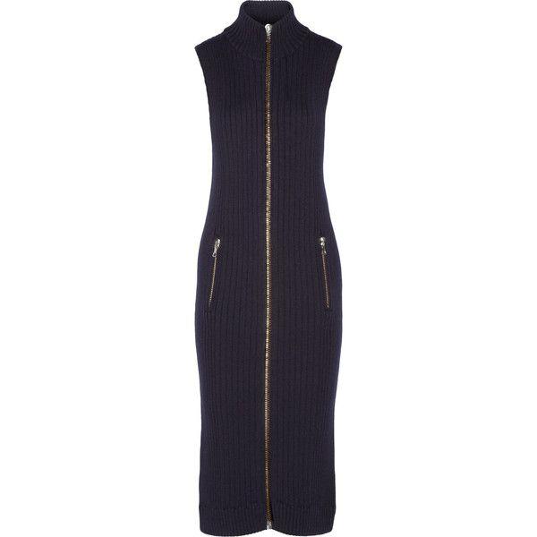 Acne Studios - Benita Ribbed Wool Midi Dress ($311) ❤ liked on Polyvore featuring dresses, midnight blue, midi dresses, woolen dress, ribbed dress, rib dress and ribbed midi dress
