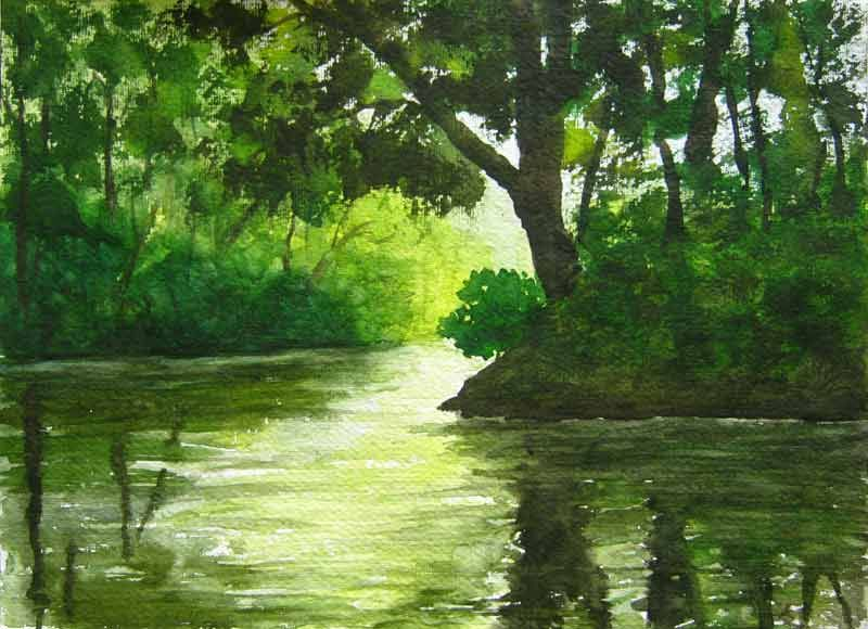 Sunlight Hitting The Forest Pool Painting Of Trees Www Art