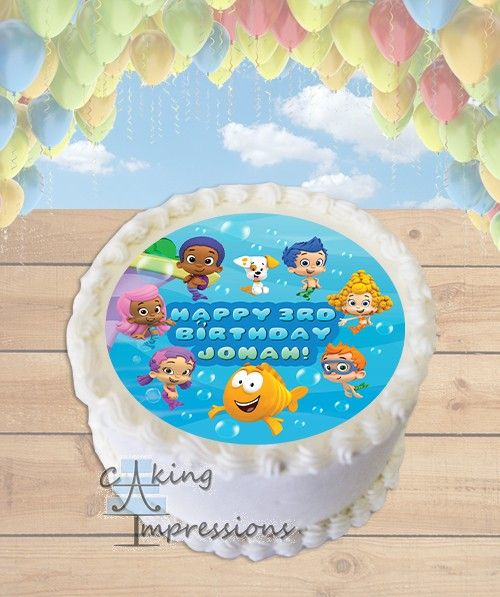 Bubble Guppies Edible Image Cake Topper ROUND