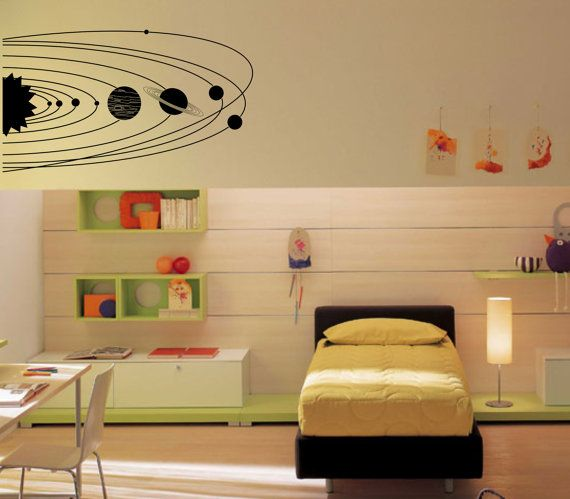 Large Solar System with planets and orbits wall decal - removable ...