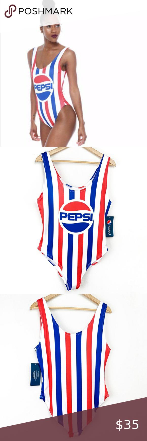 Pepsi Logo Striped Retro One Piece Swim Suit NWT in 2020