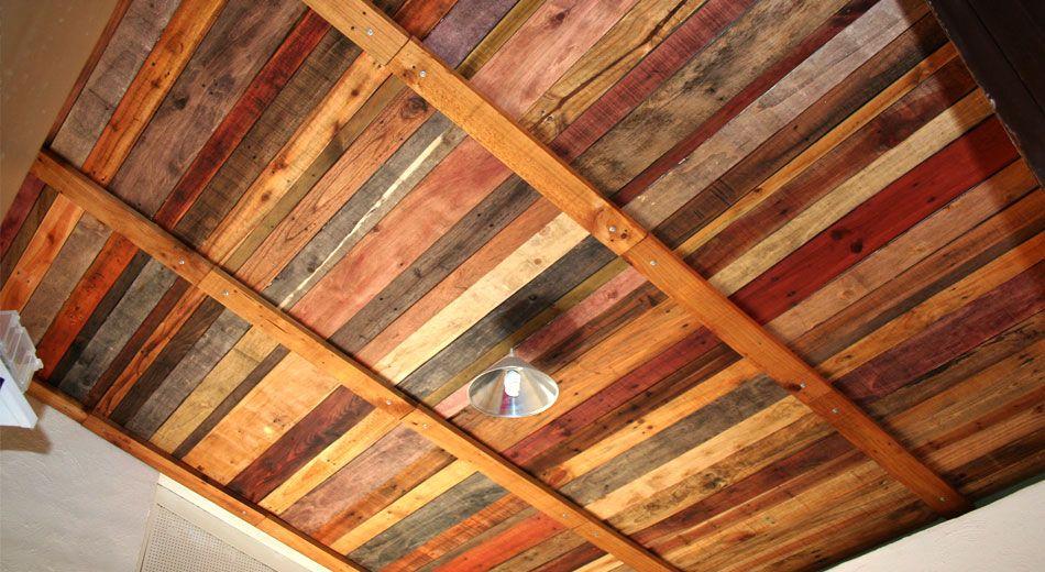 pallet ceiling recycled pallet wood ceiling i could do. Black Bedroom Furniture Sets. Home Design Ideas