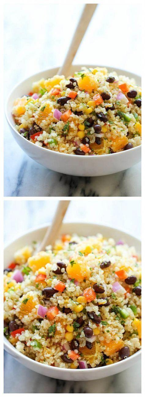 Black Bean Salad - A light and healthy quinoa salad tossed in a refreshing orange vinaigrette, choc