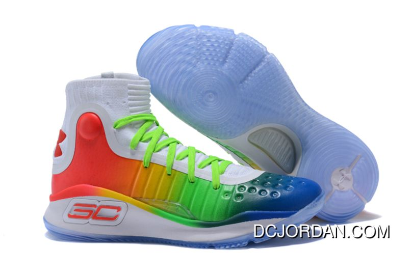 e83e1bad24e1 Under Armour Curry 4 Multi-Color White Green Red Outlet in 2019 ...