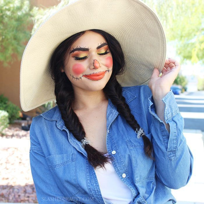 Scarecrow Adult Poncho #scarecrowcostumediy The best part of wearing a scarecrow costume for Halloween? You can make it as cute—or creepy—as you want. #halloweencostumes #scarecrow #scarecrowmakeup #scarecrowcostumediy