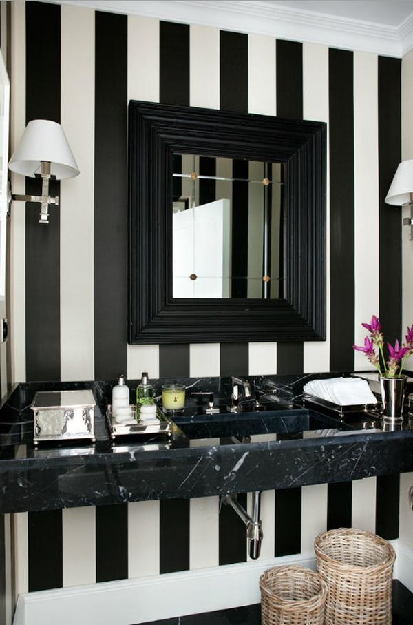 Luis Bustamante S Stylish Symmetrical Classical And Modern Interiors Striped Walls Black White Bathrooms Home Decor