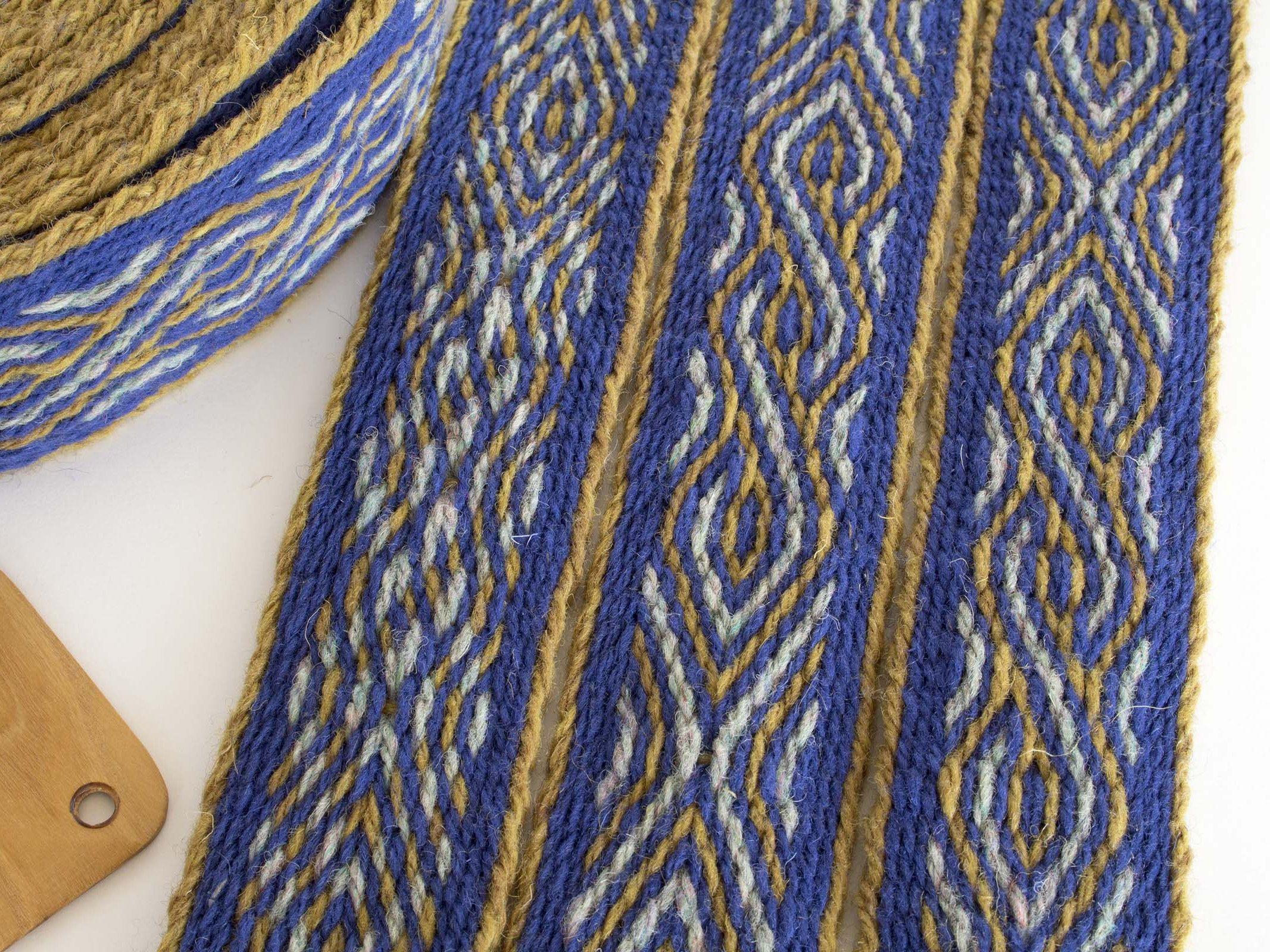 Blue tablet weaving