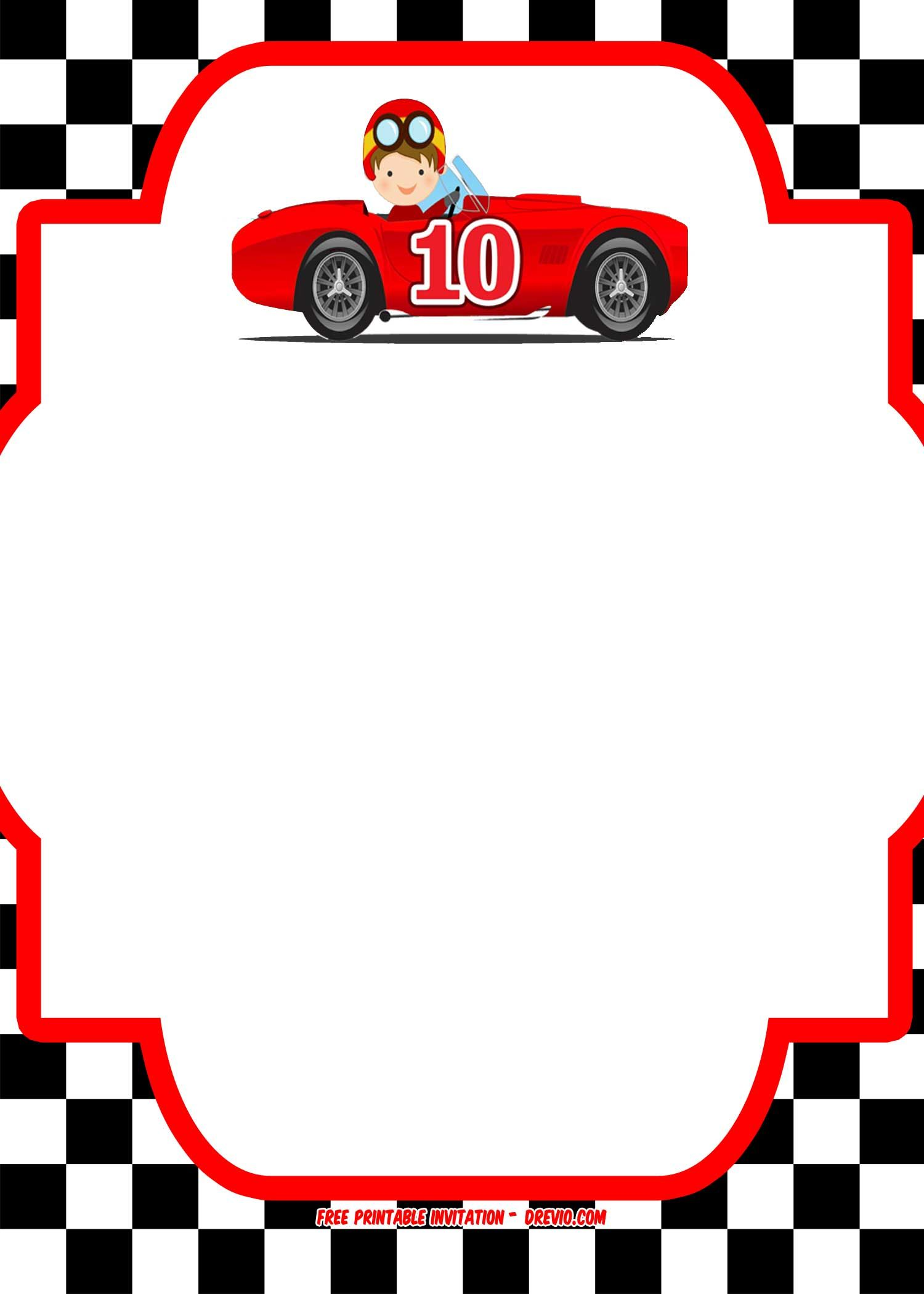FREE Race Car Birthday Invitation Template - Printable | Free ...