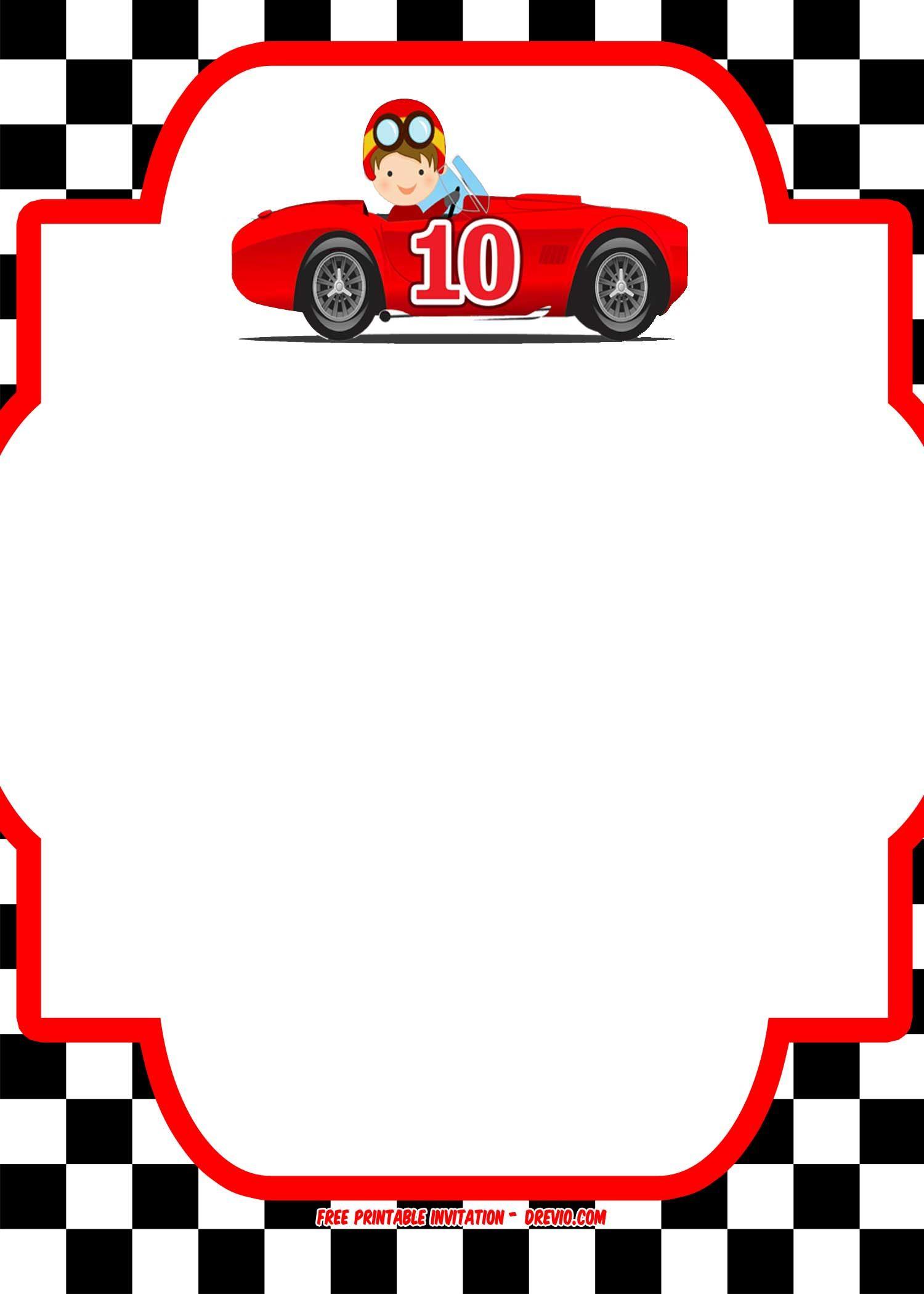 Race Car Invitations Printable Free Xc43