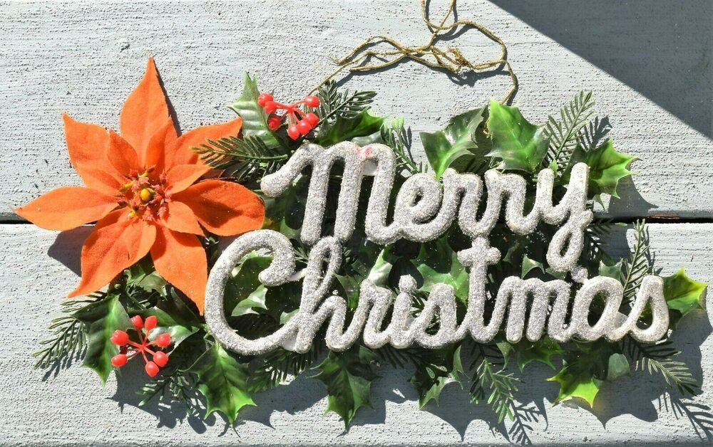 Vintage Wall Door Decor Sign Merry Christmas Silver Glitter Holly Plastic Flock Unbranded Merry Christmas Sign Door Decorations Vintage Christmas Decorations