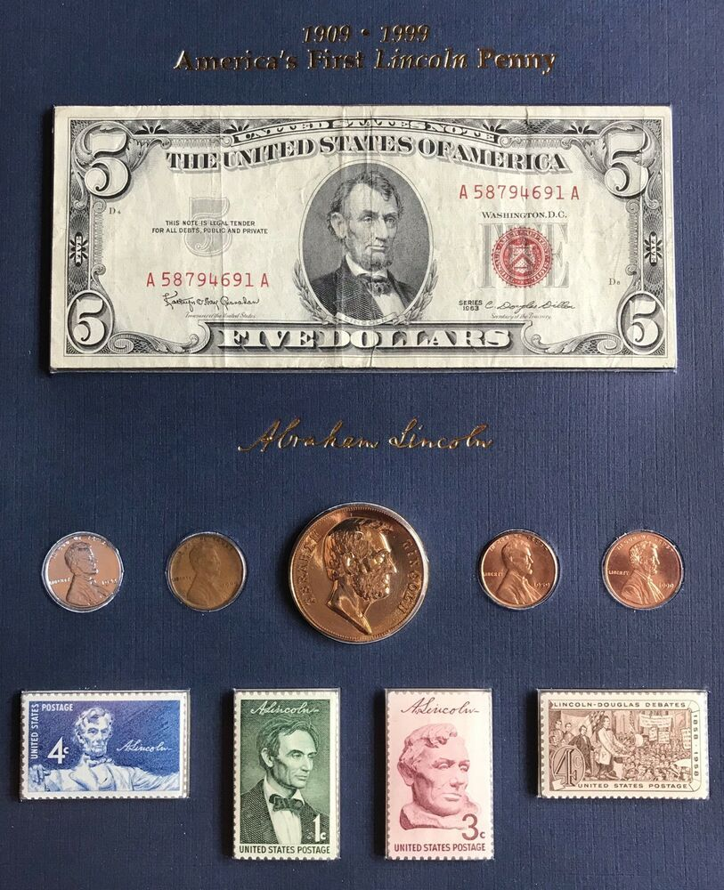 Rare 1909-1999 Americas First Lincoln Penny Banknote Stamp