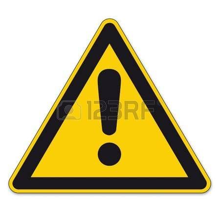 Señal de seguridad negra con fondo amarillo. Signo de exclamación Vectores.