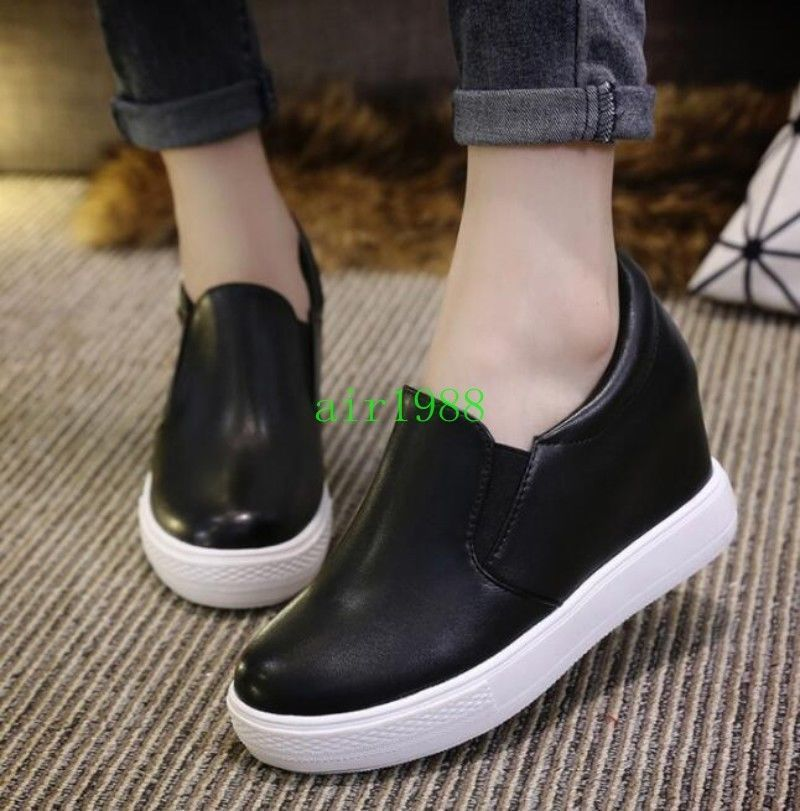 Women Casual Hidden Heel Platform Pu Leather Sneakers Ankle Pumps Boot Shoes