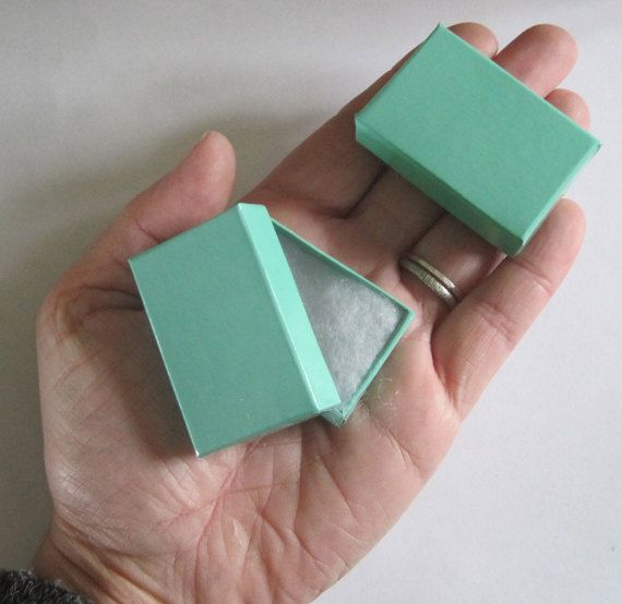 100 TINY Teal Green cotton filled boxes by sudlow on Etsy, $17.00