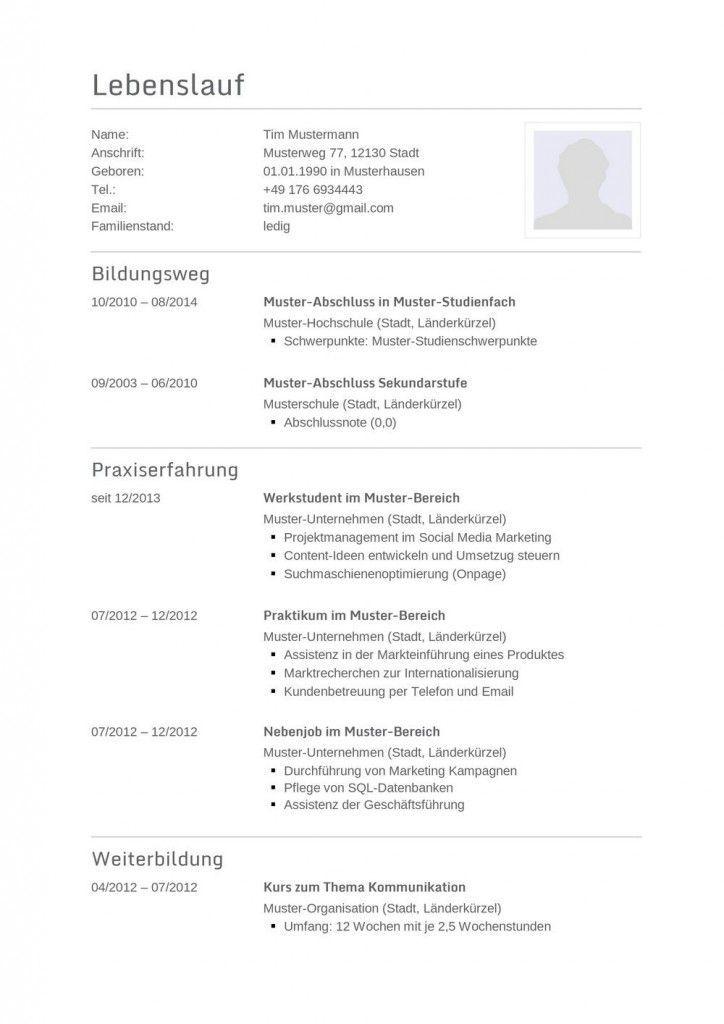 Klassischer Tabellarischer Lebenslauf Im Technischen Look Zum Kostenlosen Download Lebenslauf Vorlag Resume Template Resume Template Free Types Of Resumes