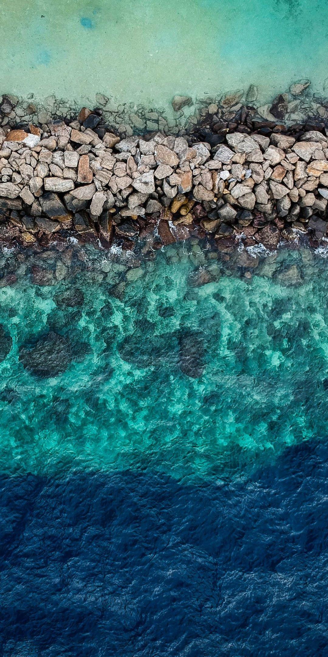 Blue Green Water Aerial View Rocks Coast 1080x2160 Wallpaper Nature Iphone Wallpaper View Wallpaper Ocean Wallpaper