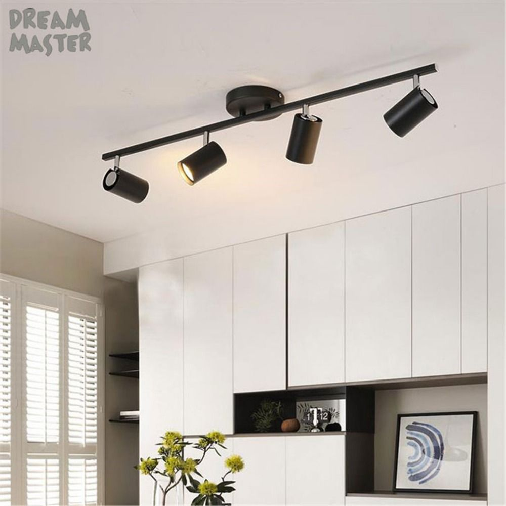 Industrial Gu10 Led Track Light Adjustable Led Track Lighting Kit Modern Black White Rail Spotlights Kitchen Ceiling Lights Ceiling Lamp White Ceiling Lamp