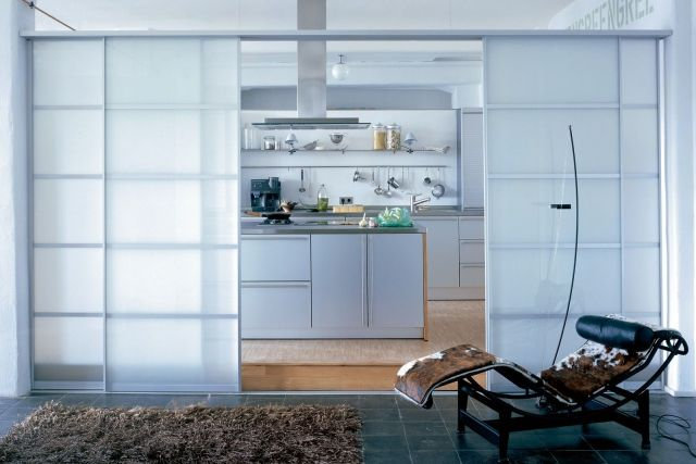 Sliding Glass Kitchen Living Room Space Divider Room - Schiebetüren Küche