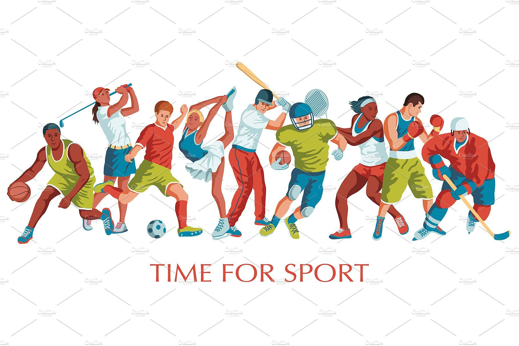 Sports Vector Illustrations Set Sports Day Poster Sports Vector Illustration