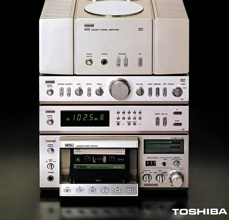 Toshiba : mini hi-fi system vintage vinyl stereo late 70's