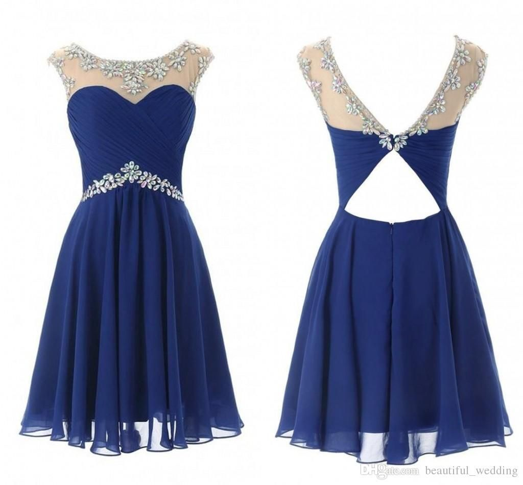 Cheap short prom dresses sheer illusion cap sleeves see through navy