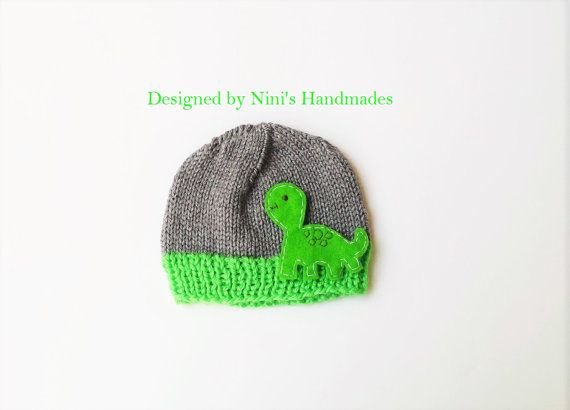 43e47888e Lime and Grey Hat with Dinosaur Made in the USA by NinisHandmades ...