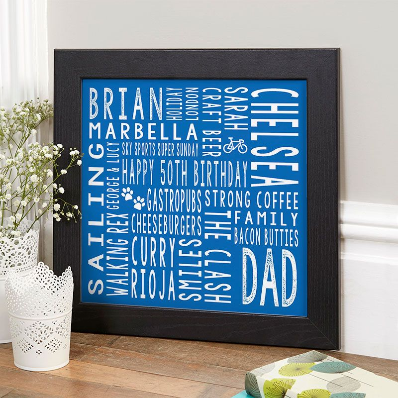 50th birthday gift for him personalised square word art