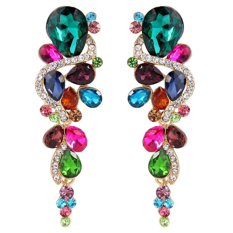 Clearine Women's Bohemian Boho Crystal Wedding Bridal Multiple Teardrop Chandelier Long Dangle Earrings gtx7Ogvm