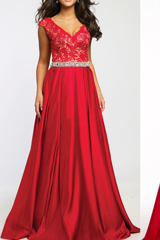 Aline lace vneck low price prom dresses promdress simibridal