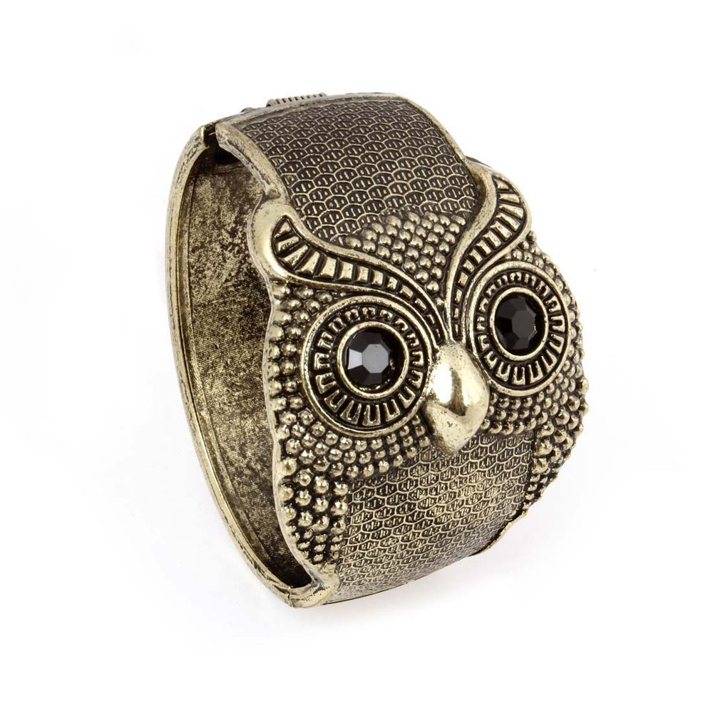 BMC Antique Gold Color Alloy Rhinestone Owl Design Fashion Cuff Bangle Bracelet #Cuff