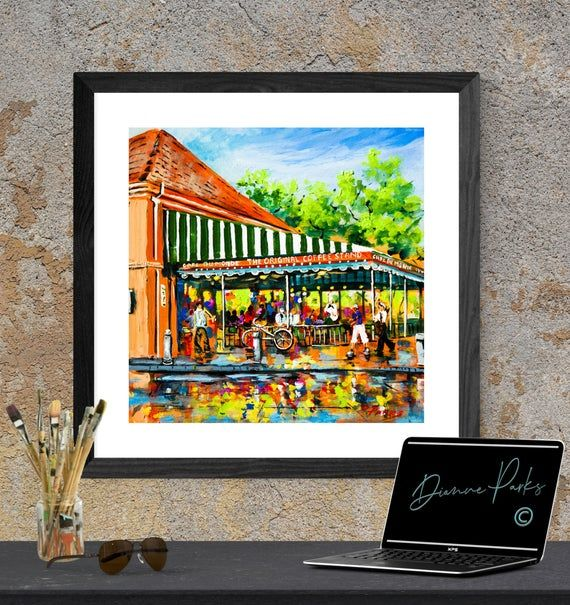◘ Café du Monde Lights  ◘ FREE SHIPPING!  By New Orleans Artist, Dianne Parks►►Either: Professional Lustre Print with a soft sheen - OR - stretched Giclée Canvas♦ Professional quality paper, canvas, and eco ink  //  Various sizes - see