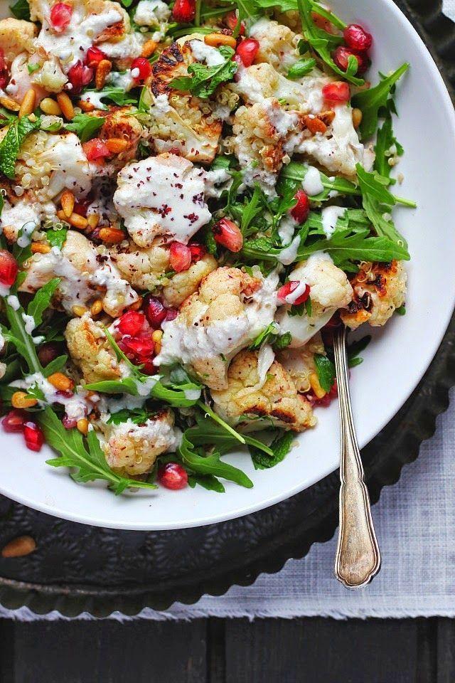 Roasted Cauliflower and Quinoa Salad with Sumac, Lemon + Tahini | Happy Hearted Kitchen | Bloglovin'