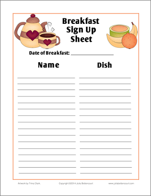 Breakfast Sign Up Sheet Free Printable: (Made2BCreative Blog ...