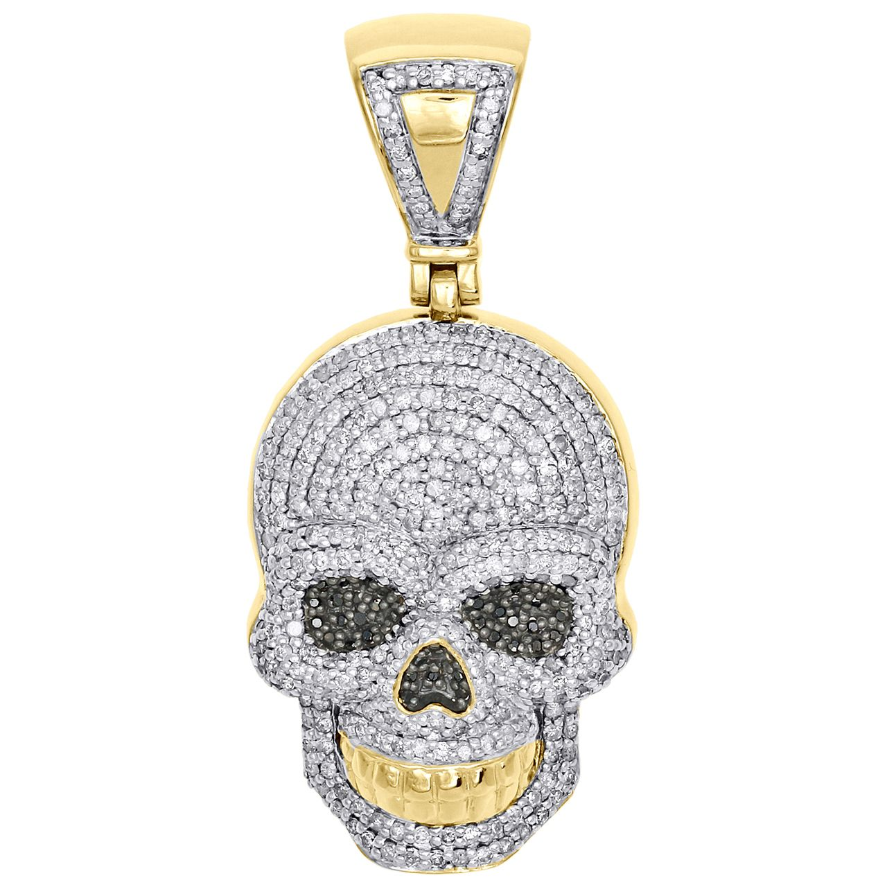 10k Yellow Gold Genuine Diamond Skull Head Pendant 1 75 Mens Pave Charm 1 64 Ct Diamond Skull Fancy Diamonds Exclusive Pendants