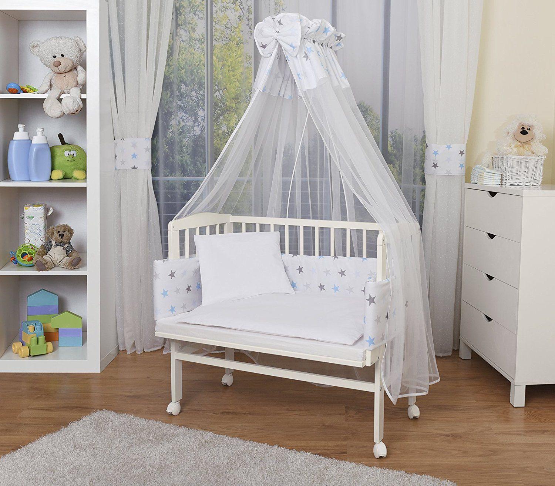 WALDIN Baby Beistellbett mit Matratze h/öhen-verstellbar 2 Modelle w/ählbar,Buche Massiv-Holz natur unbehandelt