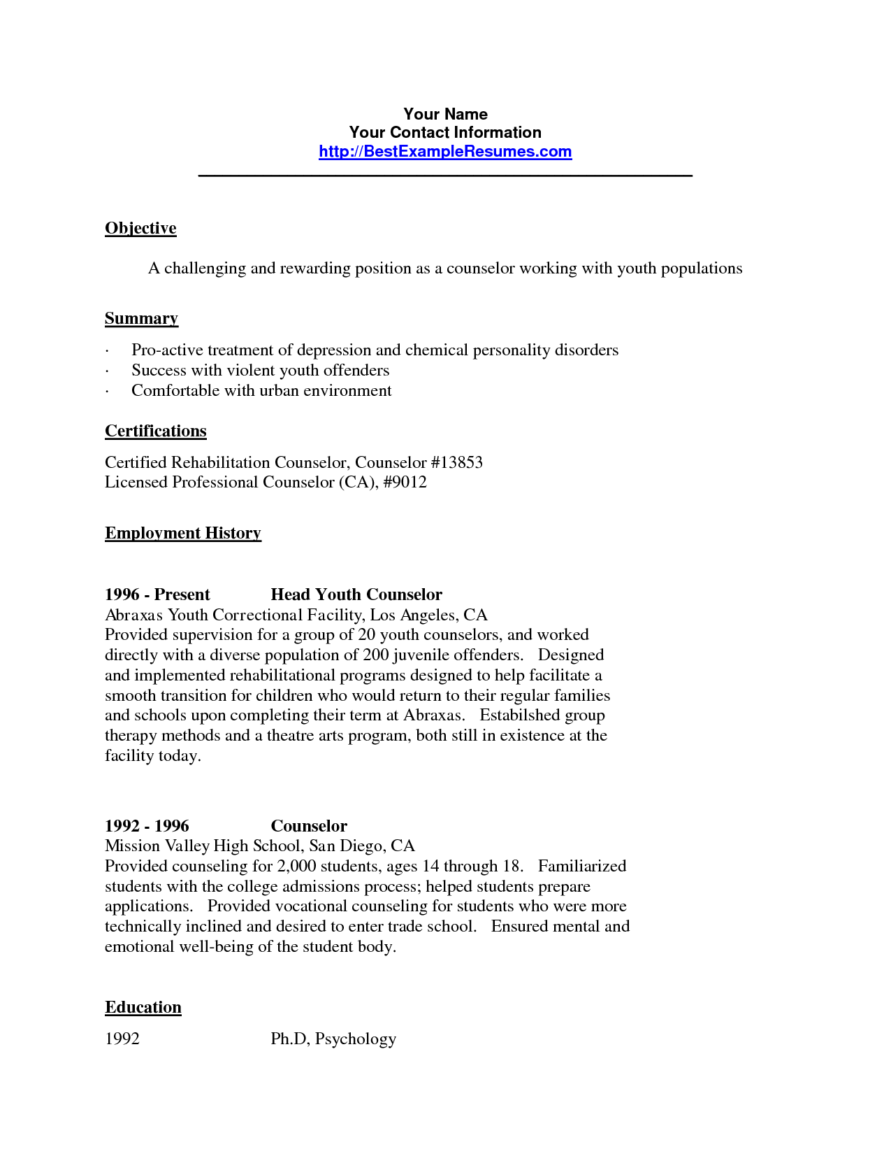 cover letter example for juvenile counseling httpmegagipercom2017 - Psychological Wellbeing Practitioner Sample Resume