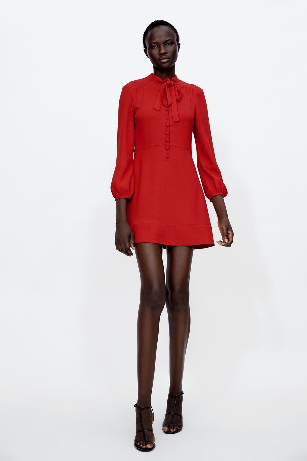 c44ac8e6 VESTIDO MINI LAZO. VESTIDO MINI LAZO Zara Red Dress, Zara Dresses ...