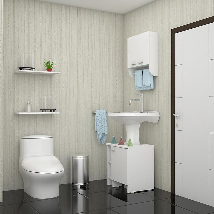 Un baño práctico tiene muebles prácticos. #Baño #Muebles #Organizado #Sodimac #Homecenter