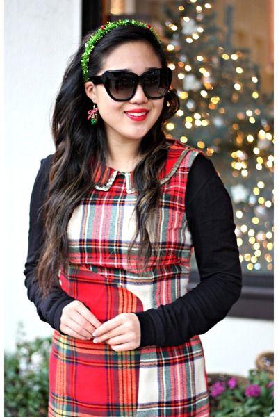 black Kushyfoot tights - red vera wang dress - black TJ Maxx heels ...